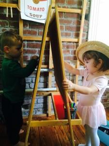 Patrick  drawing shapes and sharing his Van Gogh Hat!